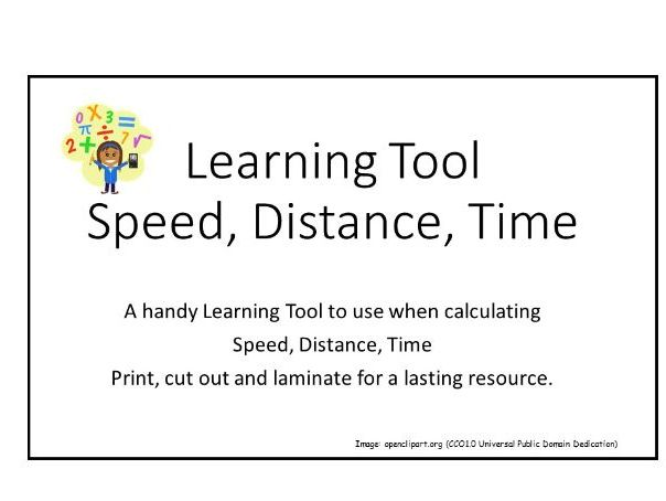 Learning Tool:  Speed, Distance, Time