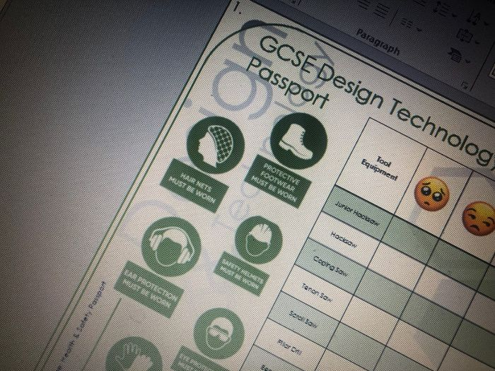 GCSE Design Technology Health & Safety Passport