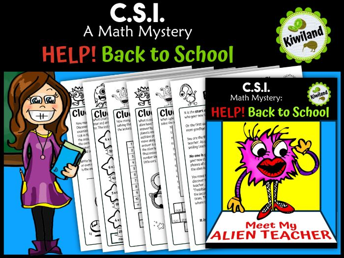CSI Math Mystery - Help! Back to School