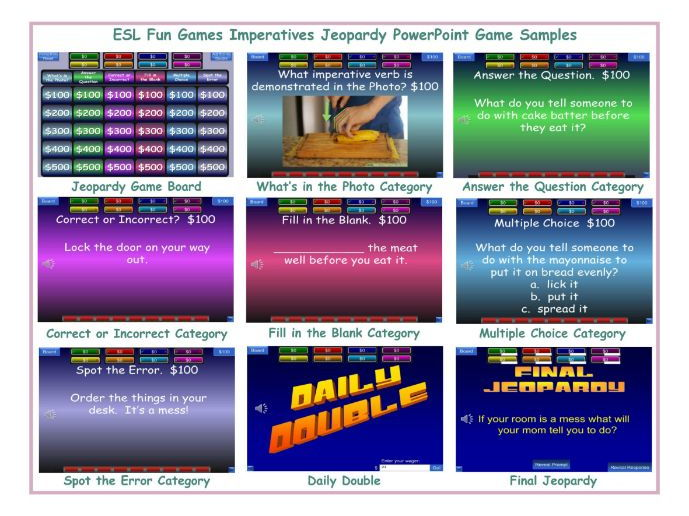 Imperatives Jeopardy PowerPoint Game