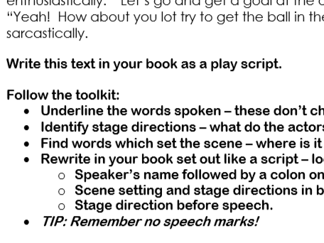 Story to play script writing activity
