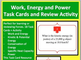 Work, Energy and Power Task Card Activity