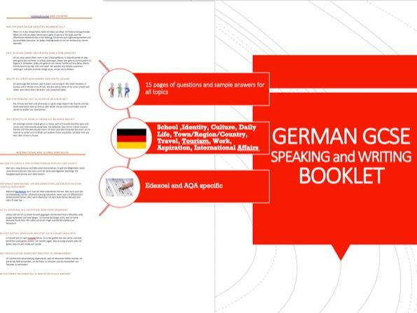 German Speaking and Writing Question Booklet WITH Sample Answers