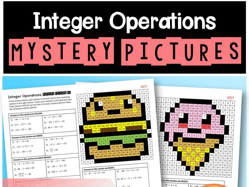 Integer Operations Mystery Pictures