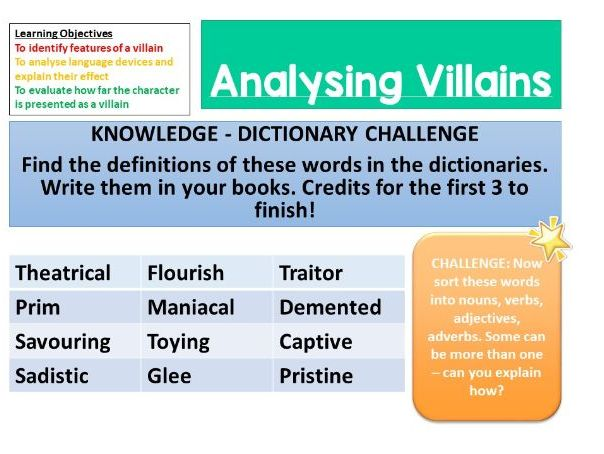 Creating a description of a villain character