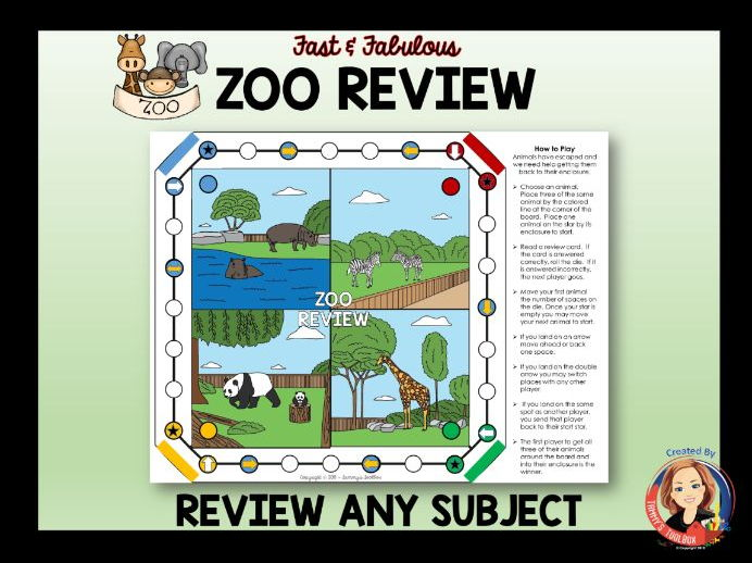 Review Game for Any Subject - Zoo Theme