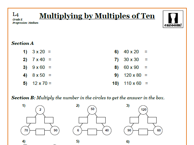 Multiplying By Multiples Of Ten 9 1 Gcse Maths Worksheets And