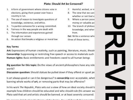Plato: Should art be censored?