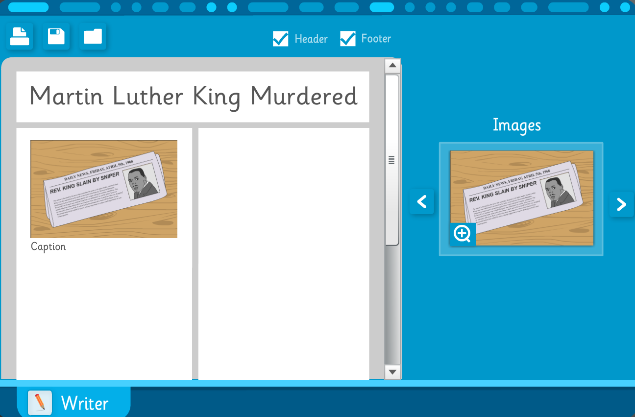 Newspaper Template: Martin Luther King Jr. - Interactive Activity - KS2