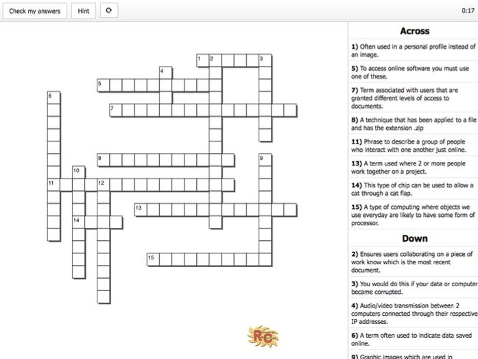 BTEC I&CT Unit1 Online Word Learning Outcome A - General Crossword