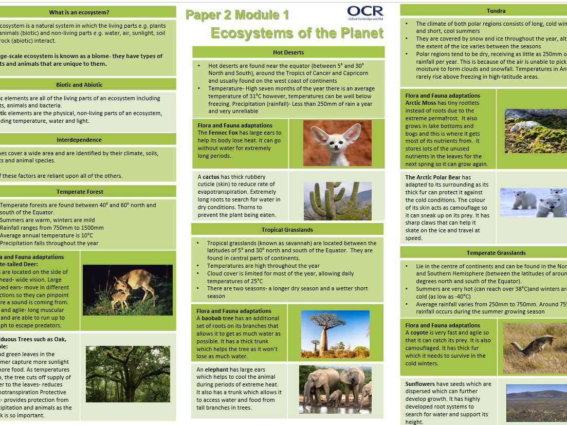 OCR A GCSE 9-1 Geography: Revision Sheets/Knowledge Organiser