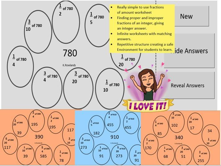 KS3 Fraction Bubbles, Fractions of Amounts, Worksheet Generator, Mix of questions, Solutions