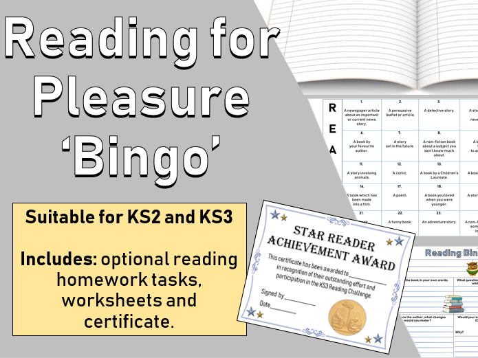 Reading for Pleasure 'Bingo' homework activity and worksheet (KS2 KS3)