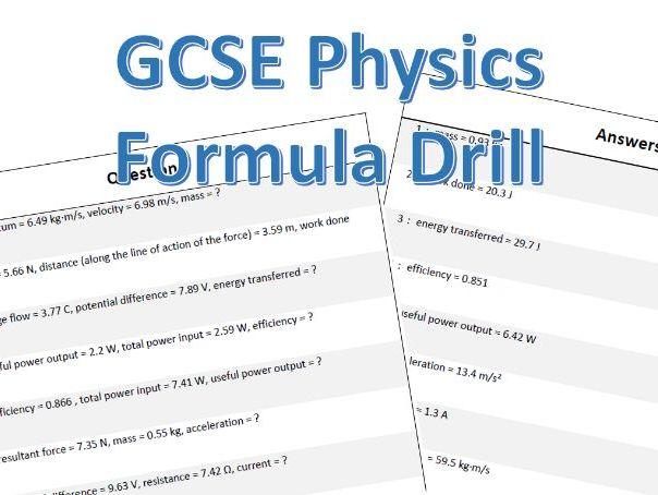 GCSE Physics Formula Drill Worksheet Question Generator