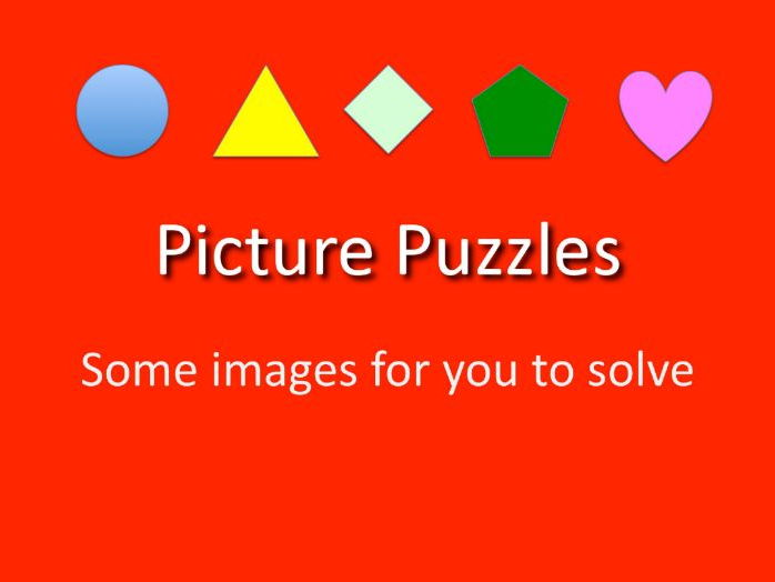 Maths KS2 and above.  Solving picture puzzles with numbers.