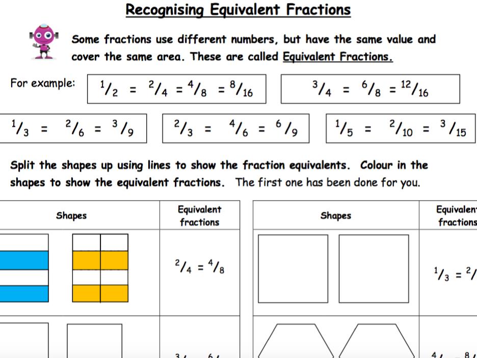 Finding equivalent fractions worksheet ks2