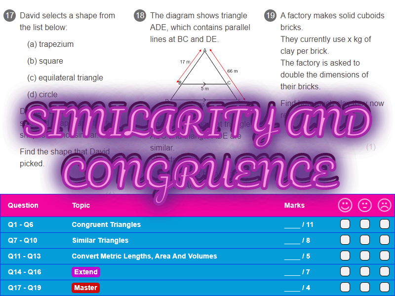 Similarity And Congruence Worksheet + Answers (Foundation GCSE)