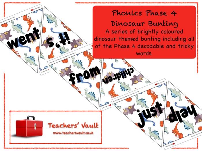 Phonics Phase 4 Dinosaur Bunting