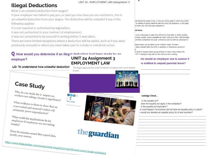 BTEC National Business Level 3 Unit 24: Employment Law Entire Unit - Workbook & Powerpoints
