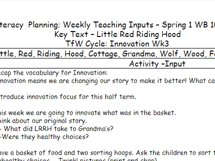 Little Red Riding Hood Literacy Planning Talk for Writing Cycle Reception/EYFS Spring1 Term