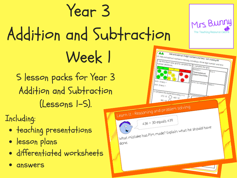Year 3 Addition and Subtraction Week 1