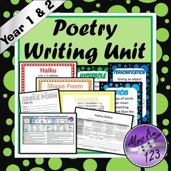 Poetry Writing Unit -Year 1 & 2- Aligned with Australian Curriuclum