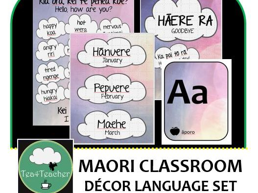 Maori Language Classroom Decor Set -16+Word & Phrase Posters, Birthday Chart, Alphabet, Days of Week