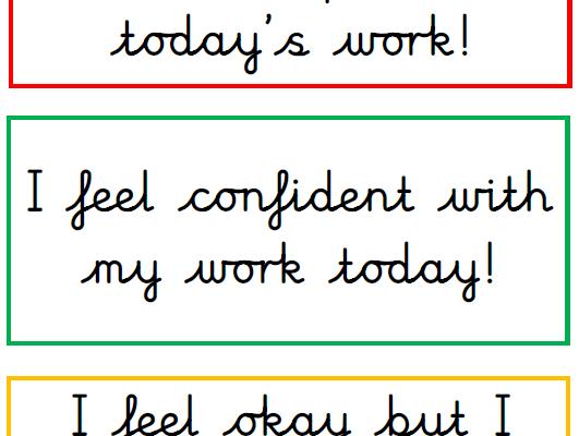 Self-assessment box labels