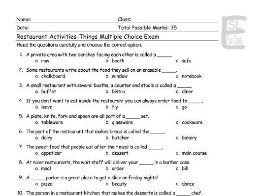 Restaurant Activities-Things Multiple Choice Exam