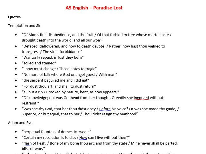 A level English - Paradise Lost Book 9 and 10 Full revision notes