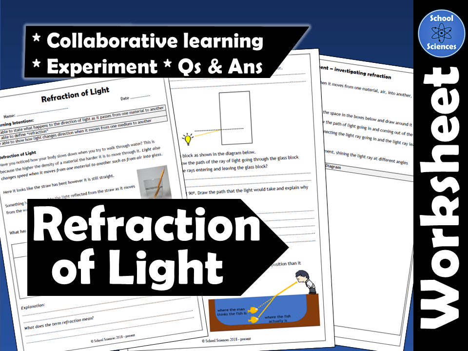 Refraction of Light worksheet Ages 11-14