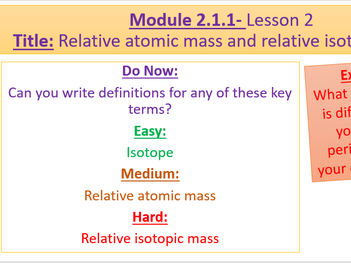 A Level Chemistry OCR A- Module 2.1.1- Lesson 2- Relative Atomic Mass and Mass Spec