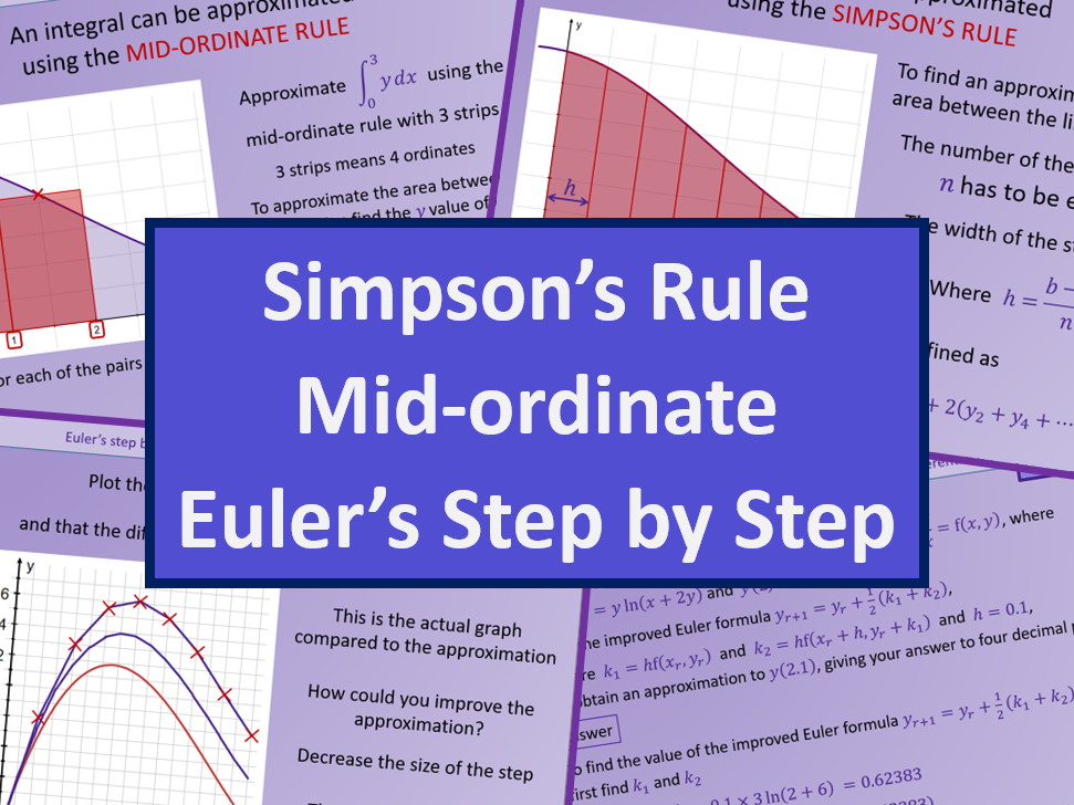 Numerical methods Simpsons Rule Mid-ordinate and Eulers step by step - Further maths A level A2