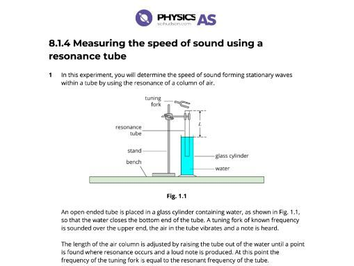 AS Physics 9702 - Practical - 08.1.4 Measuring the speed of sound using a resonance tube