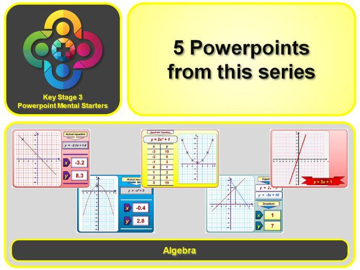 KS3 Maths Mental Starters:  Algebra - Graphs