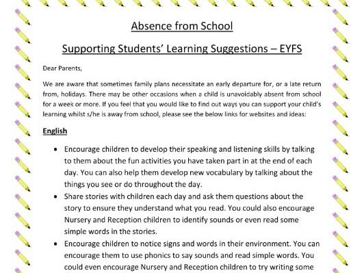 Activity Ideas for Young Children Absent from School