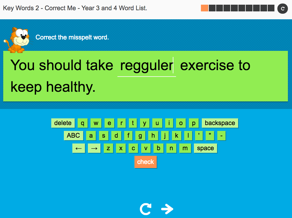 Key Words Spelling Interactive Exercise 2 - Correct Me - Year 3/4 Spag