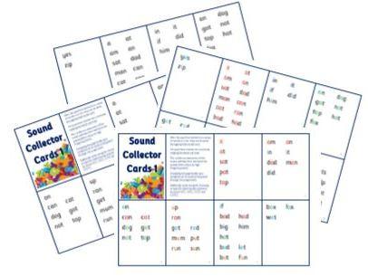 Sound Collector Cards 1 – Basic  Sounds Sets 1-7 and VCC CVCC CCVC CCVCC words