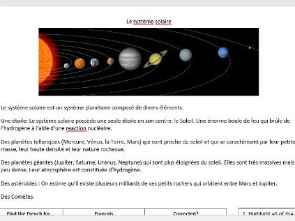 Le systeme solaire extension worksheet