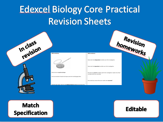 Edexcel  Biology Core Practical Revision Summary Sheets