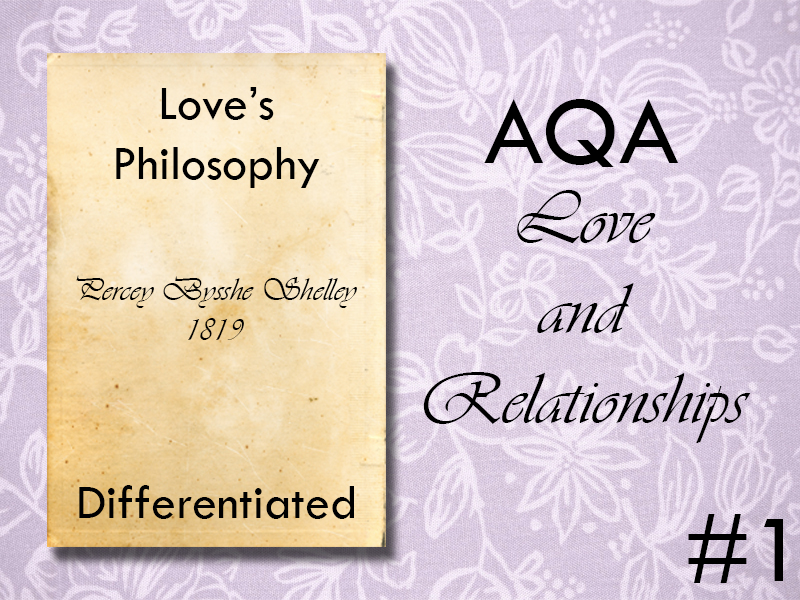 AQA Poetry Differentiated - Love's Philosophy (Love and Relationships Unit)(KS4)
