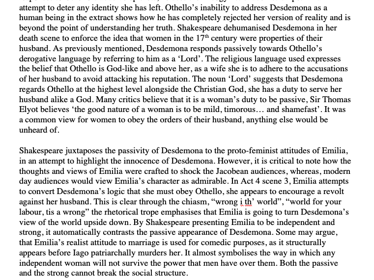 Othello A* Essay - Passive Wives/ Gender