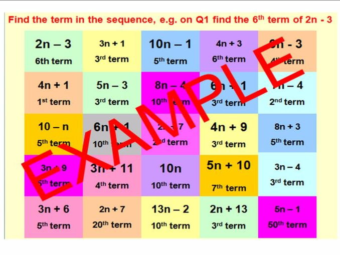 Sequences and Nth Term - Includes SEVEN different CATCHPHRASE ACTIVITIES to support learning