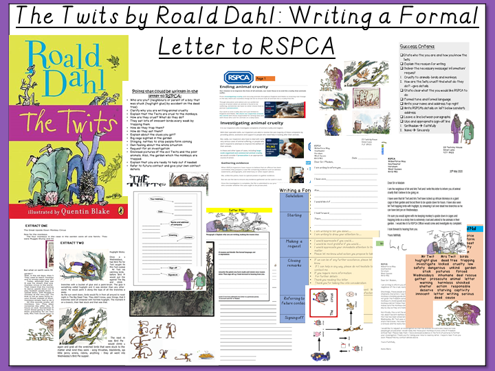 The Twits by Roald Dahl- Writing a Formal Letter to RSPCA about Animal Cruelty