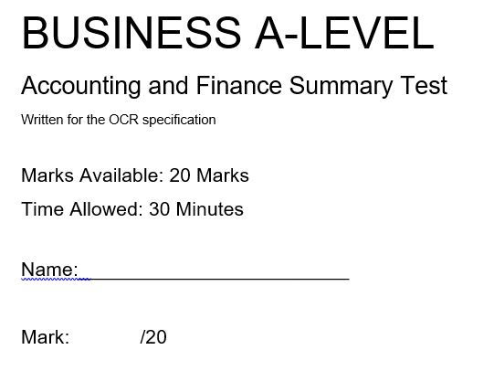 Accounting and Finance A-Level Business OCR