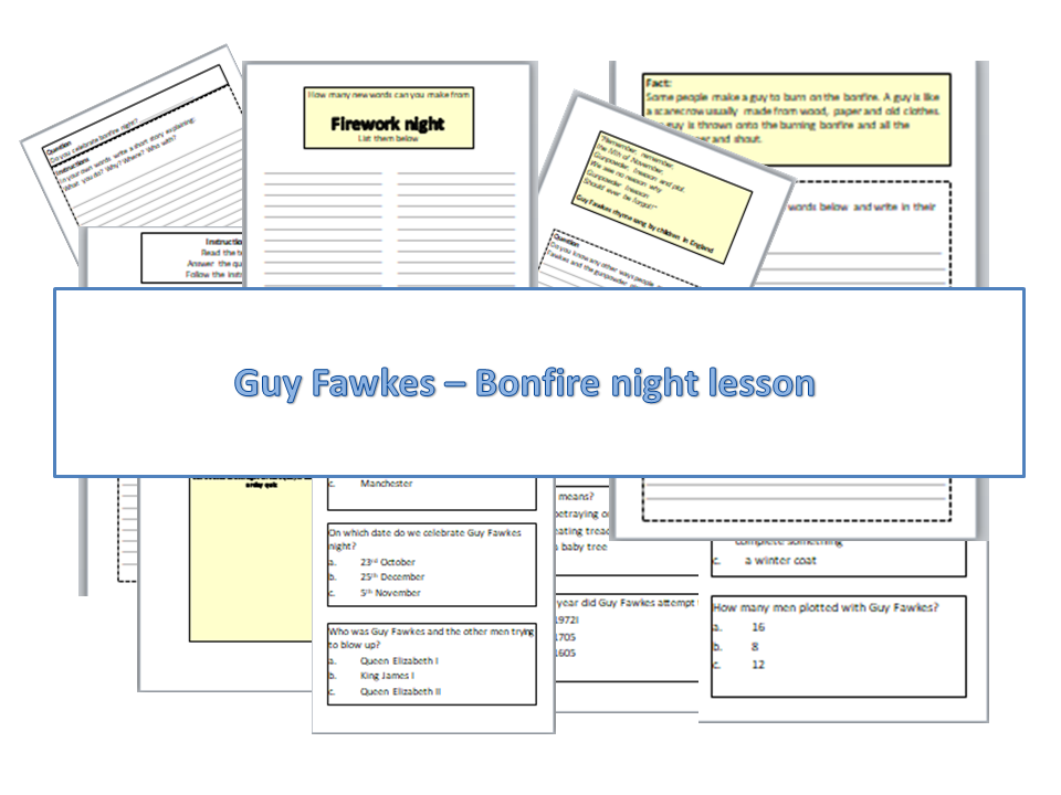 Easy read - Guy Fawkes - Bonfire night lesson