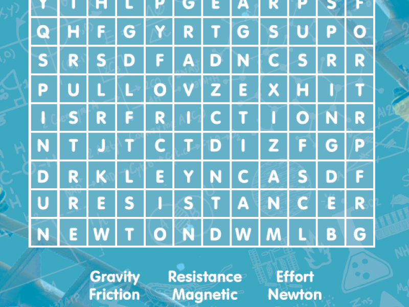 Forces Word Search science physics