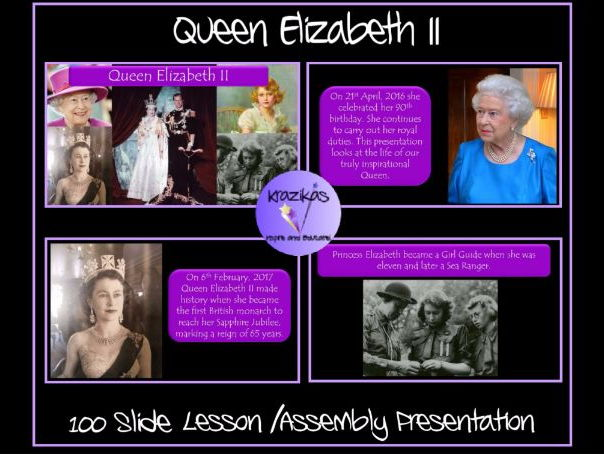 Queen Elizabeth II  Lesson / Assembly Presentation - 100 Slides