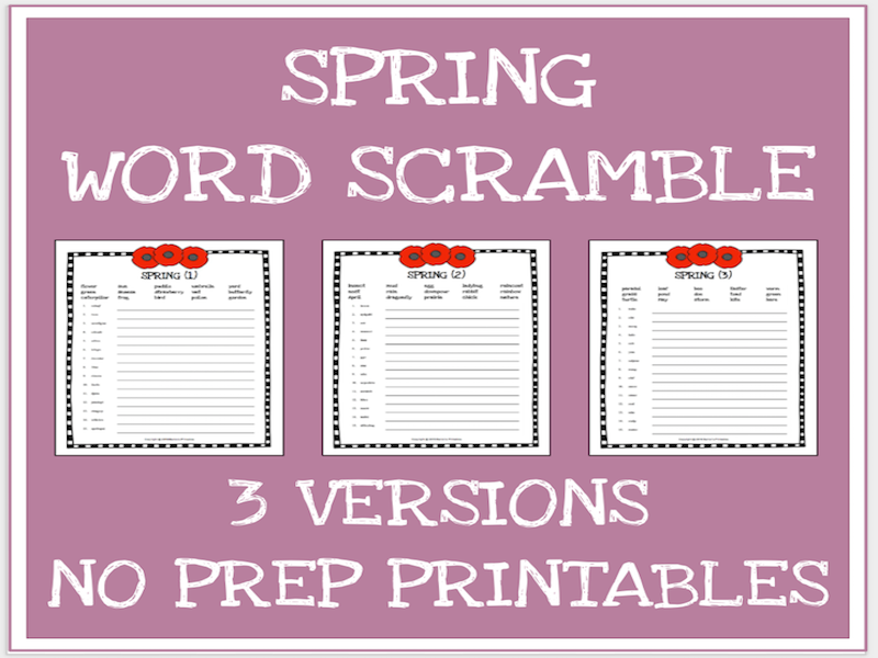 Spring scrambled words no prep printable worksheets