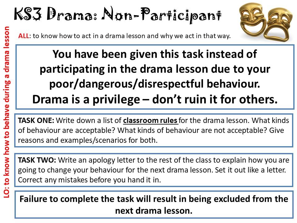KS3 Drama - Non participant Task Card